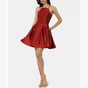 Betsy & Adam Satin Fit and Flare Cocktail Dress